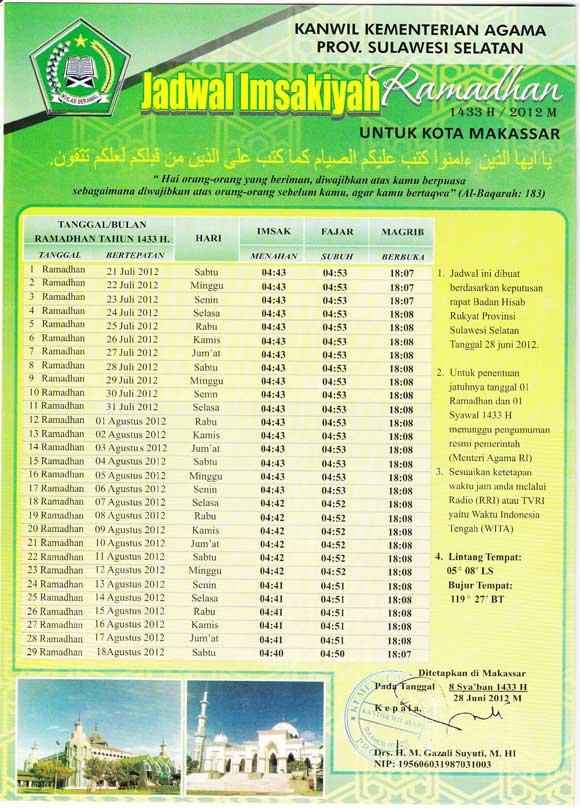 Jadwal Imsakiyah Makassar 2012 Ramadhan 1433H