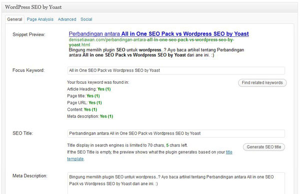 Perbandingan antara All in one SEO Pack vs Wordpress SEO by Yoast